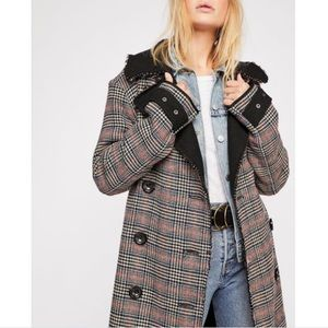 Free People Double Vision Houndstooth  Wool Coat